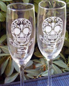 Sugar Skull Toasting Wedding Glass Flutes  by artZengraving, $24.00