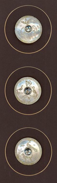 18th Century Mother Of Pearl Buttons Engraved With Various Birds and Animals. Clear Paste Center Stones.