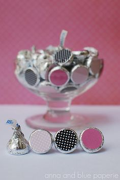 """Love this! DIY Hershey Kisses Stickers. Use (.75) 3/4"""" craft circle punch or get Avery 5408 labels."""