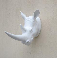 White faux Rhino head wall mounting Rhino head by Lilycraftshop