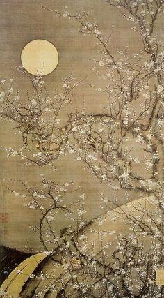 White Plum Blossoms in Moonlight. Ito Jakuchu.