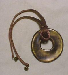 YSL burnished metal pendant necklace