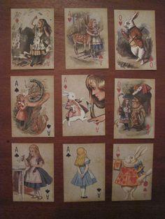 9 Vintage Alice in Wonderland decoration cards Party,Tea Party,Wedding prop