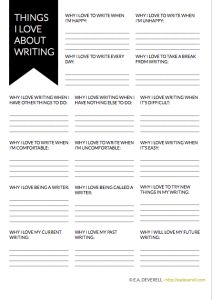 Things I Love About Writing Worksheet