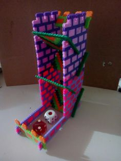 Perler Beads Dice Tower prototype Geek Crafts, Cute Crafts, Crafts To Do, Crafts For Kids, Arts And Crafts, Diy Crafts, Dnd Table, Dice Tower, Dungeons And Dragons Dice