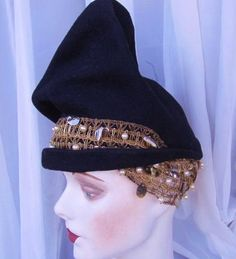 1940s Couture Toque Hat by G. Howard Hodge, Metallic Trim, Pearls, Paillettes, Sculptural. $185,00, via Etsy.