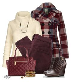 """""""Plaid Pea Coat & Wedge Booties"""" by kginger ❤ liked on Polyvore featuring We Are Replay, Fat Face, Marc by Marc Jacobs, Tory Burch, MICHAEL Michael Kors, Jon Richard, Ashley Pittman and Marcia Moran"""
