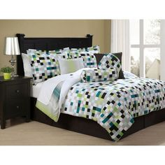 @Overstock.com - Pixell 8-piece Bed in a Bag with Sheet Set - This bed in a bag with sheet set will add a contemporary flair to your bedroom decor. Featuring a multicolored geometric design for eye-catching appeal, this modern comforter set showcases a polyester construction for a soft texture.  http://www.overstock.com/Bedding-Bath/Pixell-8-piece-Bed-in-a-Bag-with-Sheet-Set/7521629/product.html?CID=214117 $79.99