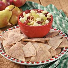 Yummy!  I made it last night but forgot the grapes.  Don't bother with making your own pita chips... Stacy's cinnamon chips are great!