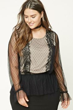 Forever 21+ - A dotted semi-sheer mesh top featuring two front ruffled panels with eyelash lace trim, ruffled hem, round neckline, elasticized waist, long sleeves, and a buttoned keyhole back.