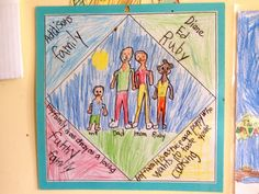 family quilt square drawing with written response