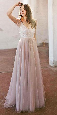 12 Light Nadia Manzato Wedding Dresses 2018 ❤ nadia manzato wedding dresses a line with cap sleeves floral top blush ❤ Full gallery: https://weddingdressesguide.com/nadia-manzato-wedding-dresses/ #bridalgown #weddingdresses2018 #bride #wedding