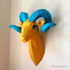Ram Head Aries Trophy Papercraft Faux Taxidermy Wall by BlueHedron