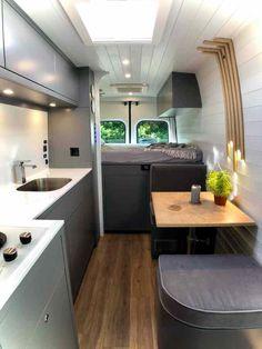 Van Conversion Interior, Camper Van Conversion Diy, Van Interior, Motorhome Conversions, Motorhome Interior, Interior Design, Rangement Caravaning, Luxury Campers, Kombi Home