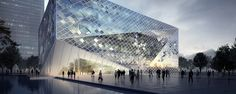 Multifunctional building in Guiyang Architecture Visualization, Commercial Architecture, Futuristic Architecture, Concept Architecture, Beautiful Architecture, Beautiful Buildings, Interior Architecture, Guiyang, Building Structure