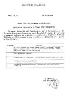 Daniele Saisi Blog: Convocazione ordinaria Consiglio Comunale 07/06/14...
