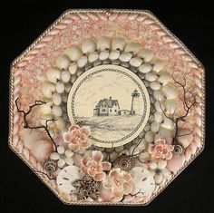 Seashell-Art-SAILORS-VALENTINE-Octagon-Shell-Mosaic-Lighthouse-Pink-Gray