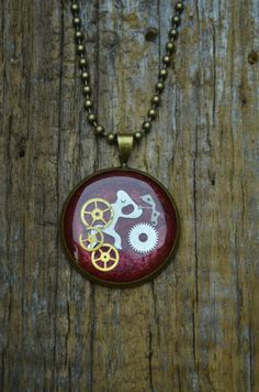 Red Clockwork Pendant on Etsy, £16.19