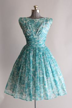 1950s Aqua Floral Print Chiffon Party Dress With Ruched Waistband by TuesdayRoseVintage