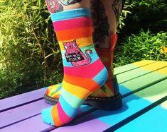 Off You Fuck Rainbow Socks - Sweary Cat Socks - Pink Cat - Katie Abey Socks