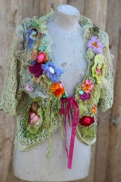 Spring mood cardi, L-XL, bolero, ornate boho jacket, bohemian romantic, altered couture, embroidered details