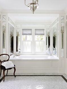 crisp, clean & gorgeous vintage glamour in this master bath by Morgante Wilson Architects in Chicago.