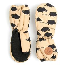 MINI RODINI Beige padded gloves with mouse print From www.kidsandcouture.com