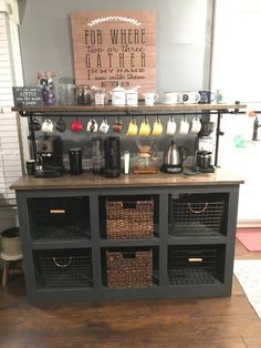 5 wide by 16 deep by 36 to counter top. Finished in Dark Gray, with Black pipe upper frame, All thread hanging rod with black metal hooks. Comes with Baskets as shown. Tops are solid ash, maple or pine tops finished with Espresso rubbing stain and topped with multiple coats of water poly.