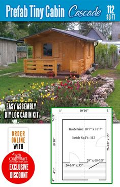 Highly affordable small and tiny log cabin kits that you can assemble yourself in days! Small Cabin Plans, A Frame House Plans, Small Log Cabin, Small House Floor Plans, Cabin House Plans, Prefab Tiny House Kit, Tiny House Kits, Tiny House Trailer, Tiny House Cabin