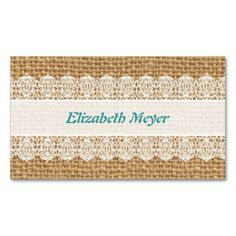Burlap with Delicate Lace - Shabby Chic Business Card  Delicate lace against burlap texture - sweet, shabby chic style! Complete it by adding your name and info.