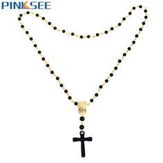 Retro Men Long Necklace Jesus Chris Cross Pendant Black Rosary Beads Necklaces Gold Color Circle Chain Maxi Necklace Jewelry #Affiliate