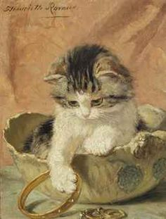 A kitten playing with jewellery | by Henriette Ronner-Knip