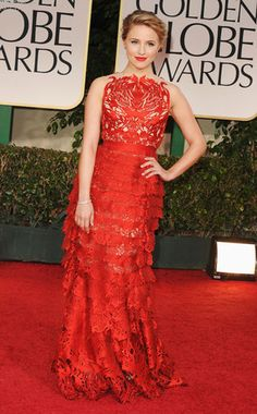 Dianna Agron from Fashion Spotlight: Glee Gals  Miss Agron shows off her eye for detail in this laser-cut Giles Deacon gown at the 2012 Golden Globes. Gorgeous!