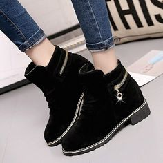 High Quality Autumn Winter Green Short Boots Women Thick High Heels Suede Ankle Chunky Boot for Women Winter Velvet Shoes Martin Boots