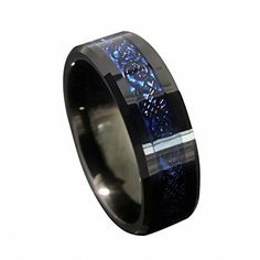 nice 8mm Blue Black Silvering Celtic Dragon Tungsten Carbide Ring Wedding Band Size 6-13