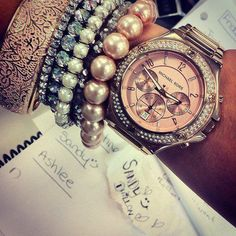 I want all of these! Rose gold Michael Kors watch with pink toned pearls and bracelets! Rose gold wedding band too!!