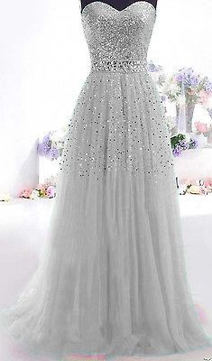 Gray Long Prom Dress Paillette Tulle Party Ball Formal Gowns SIZE2.4 6 8 10+++++ in Clothing, Shoes & Accessories, Women's Clothing, Dresses   eBay