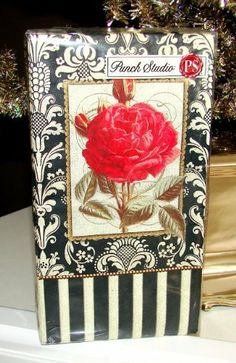 Punch Studio Boutique 16 Ct Paper Guest Towels / Dinner Napkins, Elegant Red Rose Black Damask by Punch Studio. $7.29. Punch Studio, Not Your Average Napkins!  Premium, 3 ply napkins, sold only in fine shops.. 16 Pack of Guest Towels / Dinner Napkins. See Product Description for Measurements. We specialize in hard-to-find Punch Studio! Be sure to click on our vendor name (bookndishes) to find more Punch Studio Lovelies in our Punch Studio Boutique!. Approx. Measurem...