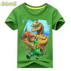 2017 Verano de la Muchacha del Patrón de Dinosaurio de Manga Corta Camiseta de Los Niños 100% Algodón Blanco camisetas Para Niños de Impresión de Dibujos Animados Ropa ACY003