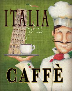 Vintage Italian Posters ~ #illustrator  #Italian #vintage #posters ~ Worlds Best Chef IV Stampe di Daphne Brissonnet