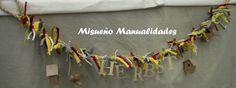 """Tira decorativa de cuerda con casitas de pájaro de papel maché de Décopatch, lacitos de trapillo y la palabra """"otoño"""" en alemán. Es que somos muy internacionales en Misueño Manualidades. www.misuenyo.com / www.misuenyo.es"""