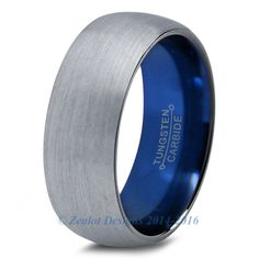 Blue Chromacolor Silver Dome Cut Tungsten Ring