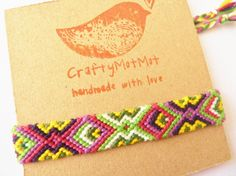 Unique macrame bracelet in an aztec pattern. Carefully crafted by me, this listing is for the pictured bracelet. My bracelets are crafted using