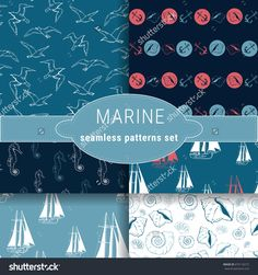 Marine set of seamless patterns. A collection of six patterns on the sea theme. Easy to use