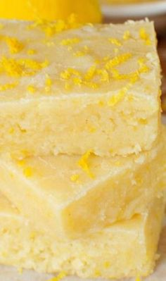 Fudgy Lemon Brownies Recipe ~ These have the texture of a fudgy brownie and the flavor of a lemon bar... They are heavenly!
