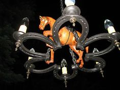 VTG ART DECO EQUESTRIAN LEATHER HORSE SHOE IRON CHANDELIER CEILING FIXTURE OLD