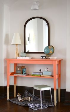 Dipped furniture. Love. Also love the style of this entryway table.