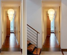 two images showing exact same corridor, wooden laminate floor, white walls and brown doors, several round lantern-like ceiling lamps,hallway decorating ideas