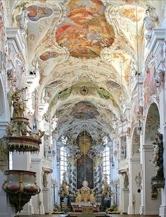 Baroque architecture inside Reichenbach Abbey in Bavaria, Germany (by rotraud). It really is this beautiful----:) Baroque Architecture, Classical Architecture, Beautiful Architecture, Beautiful Buildings, Architecture Details, Beautiful World, Beautiful Places, Wow Photo, Baroque Art