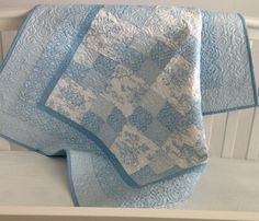 """Baby Quilt Featuring Summertime Toile in Baby Blue and White 39""""x45"""" $169.99 yep - a lot of hours in that quilt"""